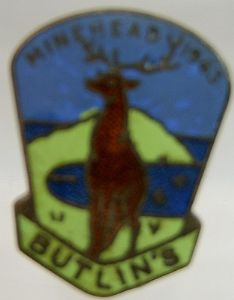 Butlins Holiday Minehead Enamel Pin Badge - Blue, Green & Gold - 1963